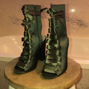Army green lace up heels from Aldo